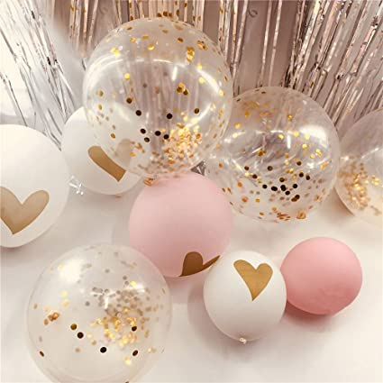 Rose Gold Confetti Balloons Backdrop Pack Of 20 Rainbow Ballon With Tinsel Foil Fringe Silver