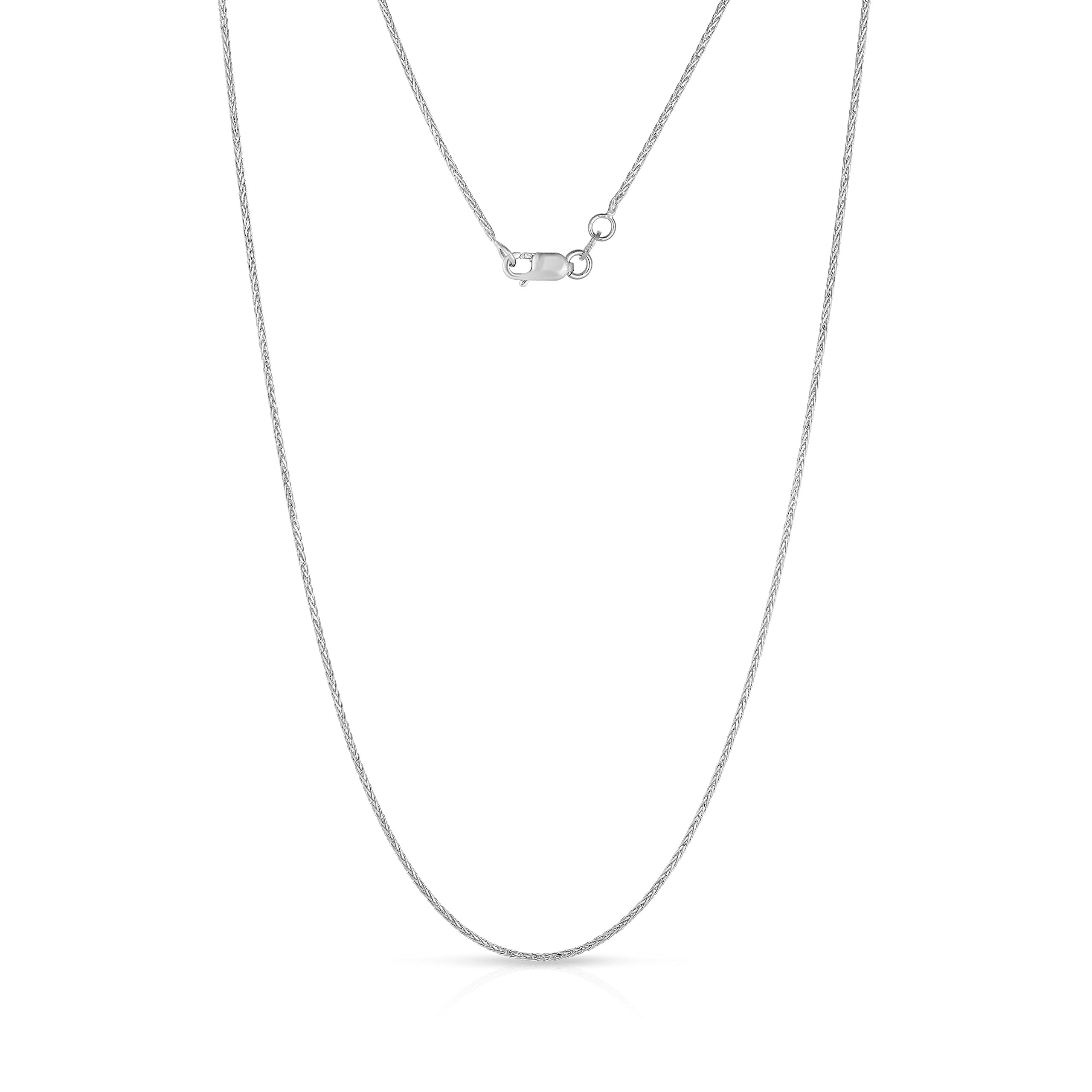 10K White Gold Wheat Chain Necklace, 22 Inch
