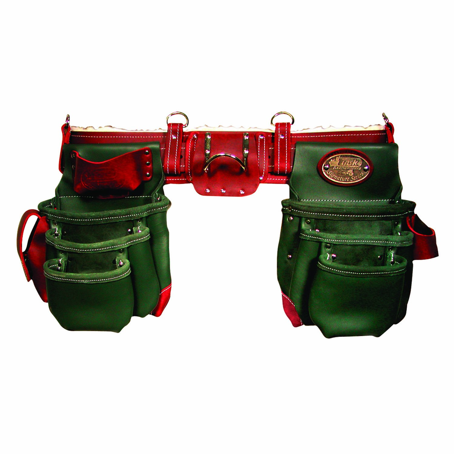 Task Tools T77551 Component Work Belt System  with Sheepskin, Green and Burgundy, 11-Pocket