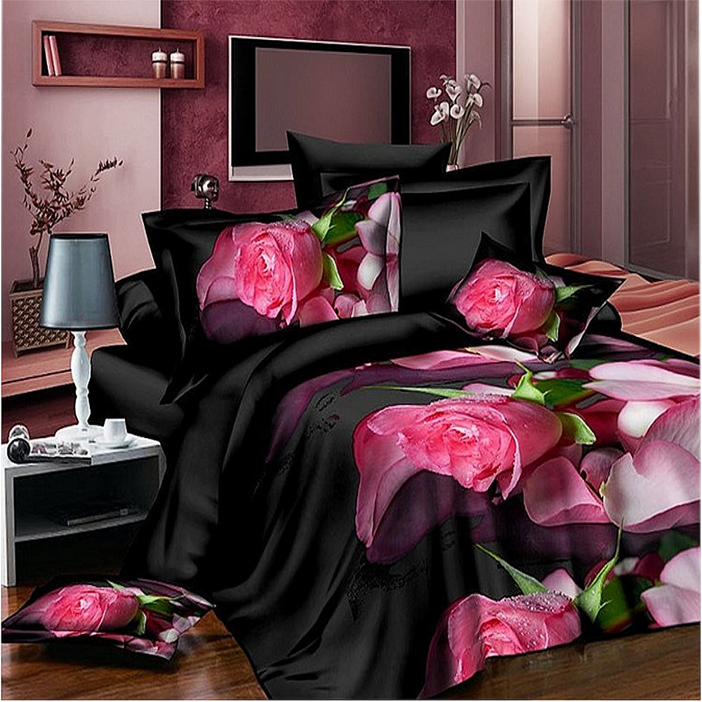 4 Piece Duvet Cover Set, Queen, 3D Pink Rose Black Print