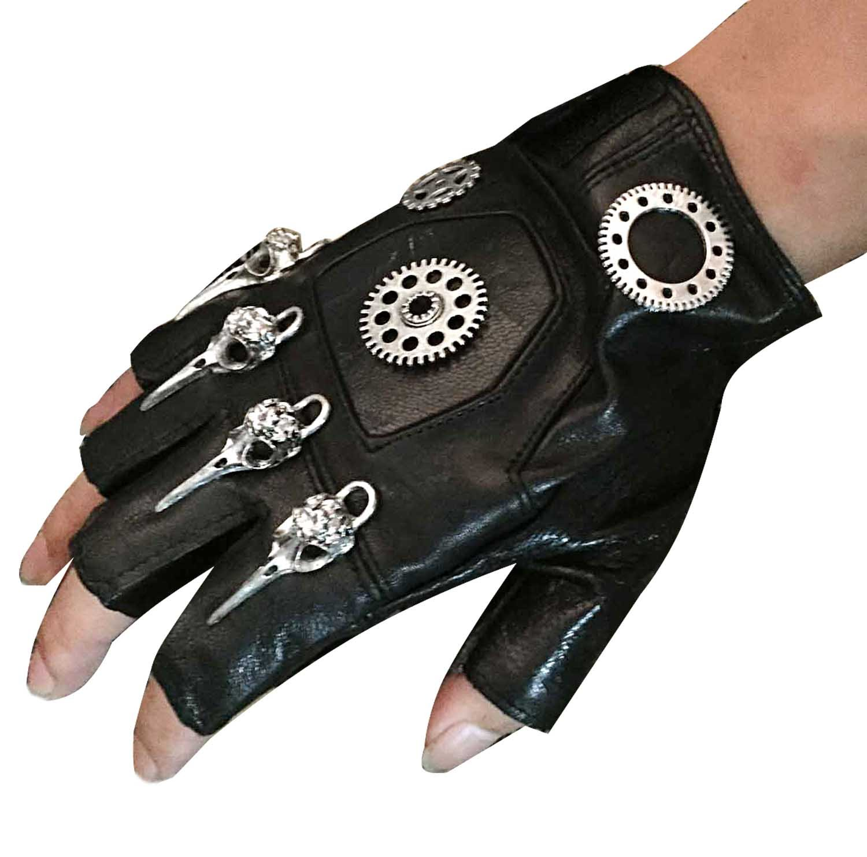 Mens Unisex Steampunk Gears Gothic Genuine Leather Half Finger Fingerless Gloves 3
