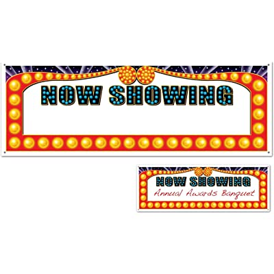 Now Showing Blank Sign Banner Party Accessory (1 count) (1/Pkg): Toys & Games