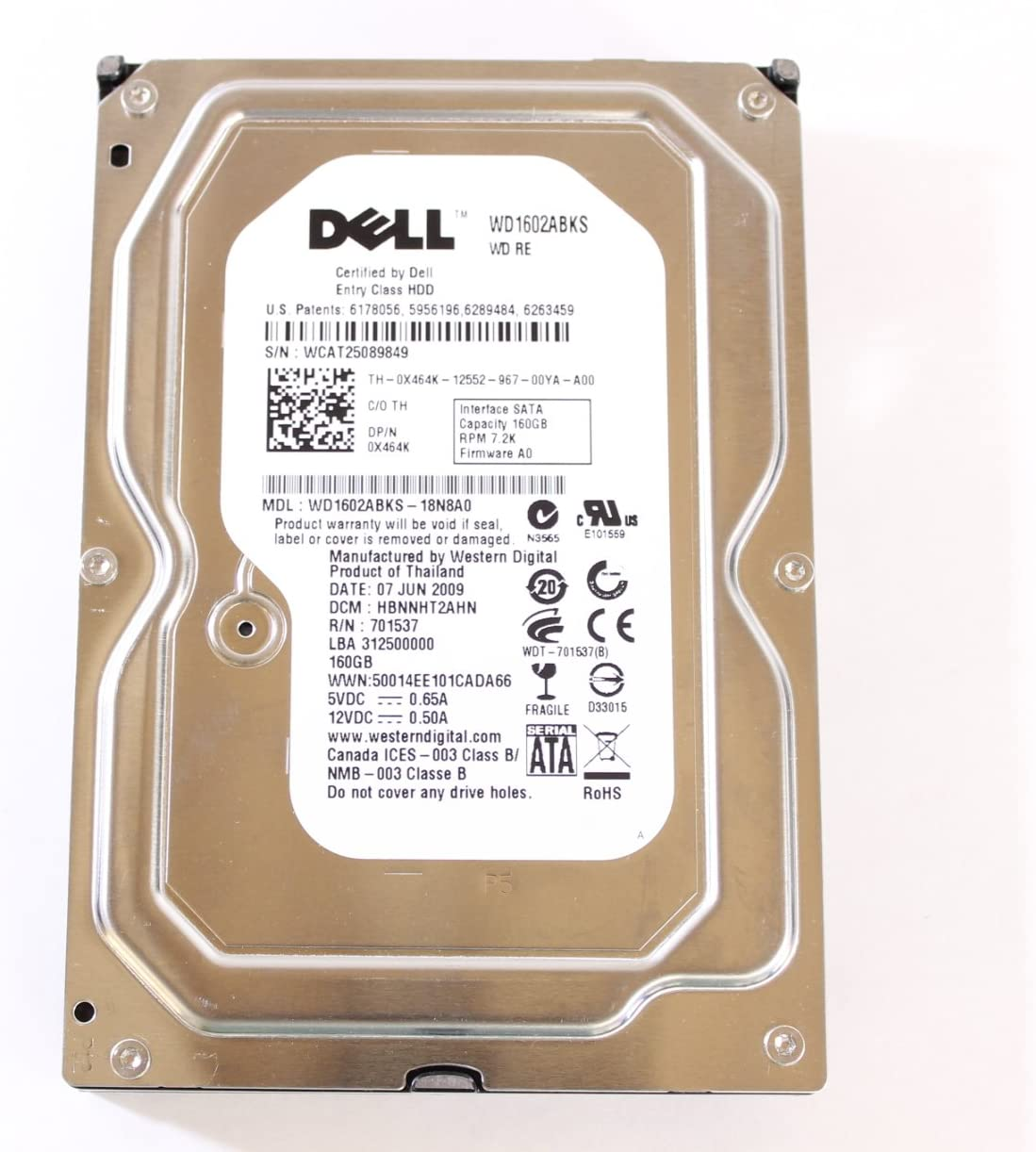 "Dell X464K 3.5"" HDD SATA 160GB 7200 Western Digital Desktop Hard Drive PowerEdge 1900"