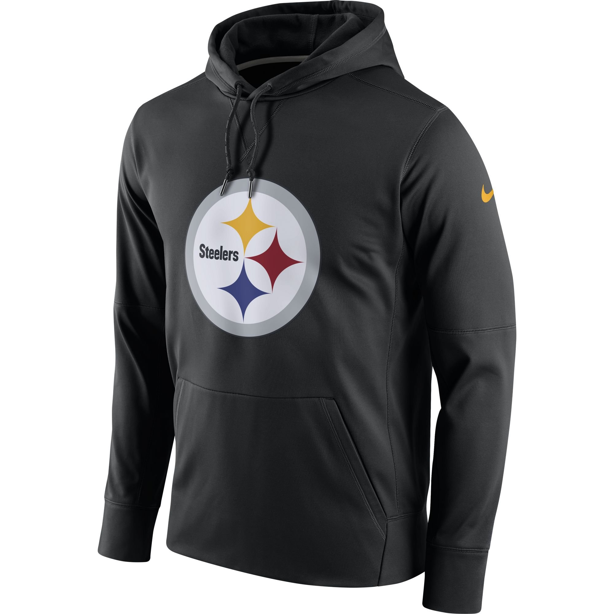 Nike Men's Pittsburgh Steelers Logo Essential Hoodie Black/University Gold Size Large