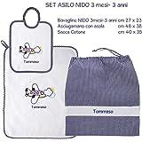 Coccole- Set ASILO NIDO - 3 pezzi: 1 bavaglino, 1 asciugamano e 1 sacca con nome personalizzato per asilo nido -3 mesi - 3 anni (Blu)