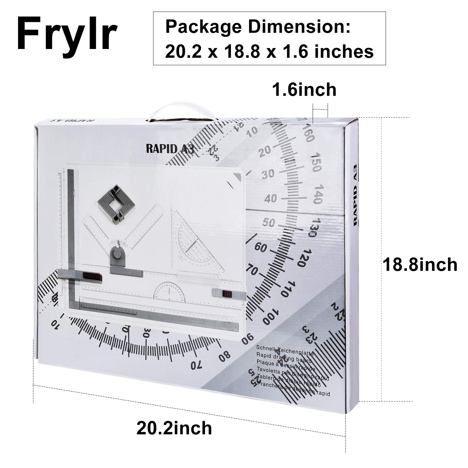 Frylr Metric A3 Drawing Board Drafting Table Multifunctional Ergonomic Designed Adjustable Angle Rulers Portable Drawing Measuring System
