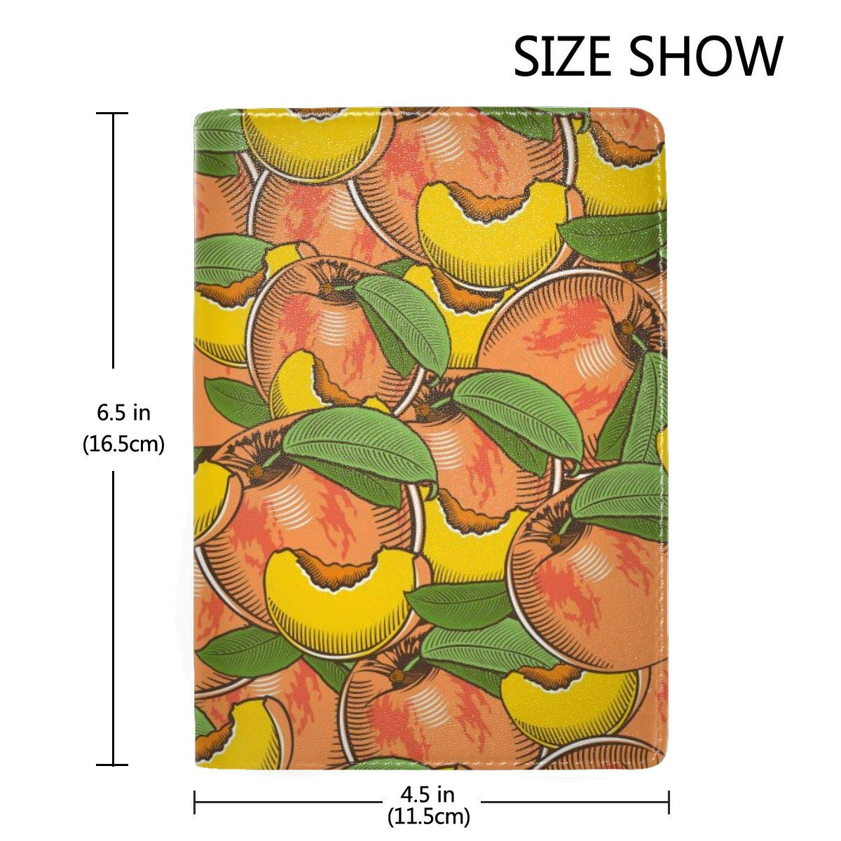 Painted Peach Fashion Leather Passport Holder Cover Case Travel Wallet 6.5 In