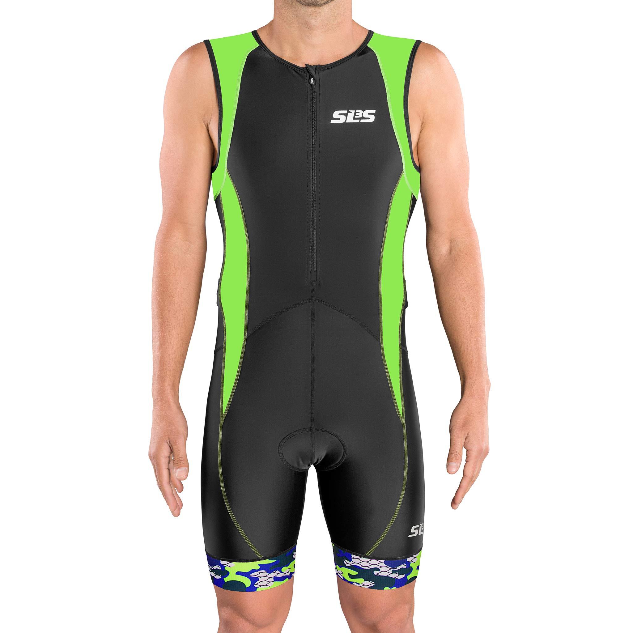 SLS3 Men`s Triathlon Tri Suit FX | Trisuit | 2 Pockets | Soft Custom Chamois | German Designed (Black/Green, S)