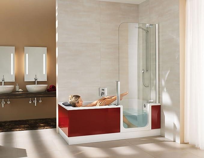 Artweger Twin Line 2 Kombi bañera bañera con puerta y ducha 180 cm Mampara de cristal plata mate con delantal blanco: Amazon.es: Bricolaje y herramientas