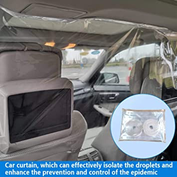 Car Universal Isolation Film Anti-Saliva Plastic Protective Isolation Curtain with Gift Hook /& Loop Tapes Cab Front and Rear Row Transparent Safe Film Protect from Germ Smoke Dust 55x71