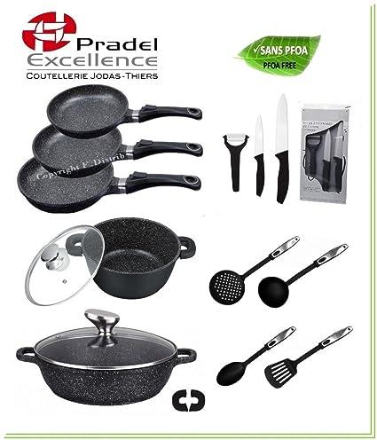 Pradel Excellence - Juego de sartenes, ollas y utensilios de cocina (recubrimiento de piedra