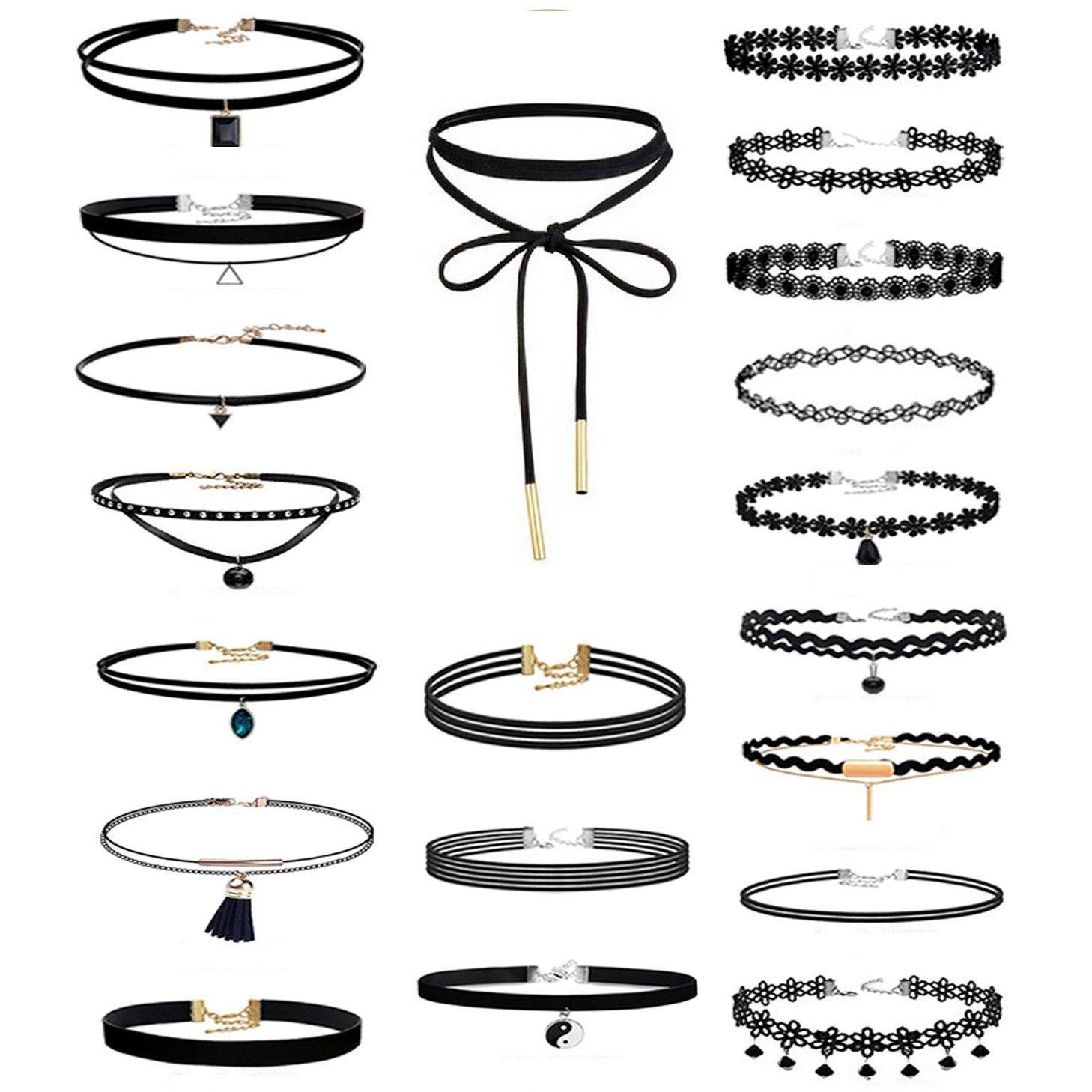 Black Choker Necklace Set for Women Girls Seo7562