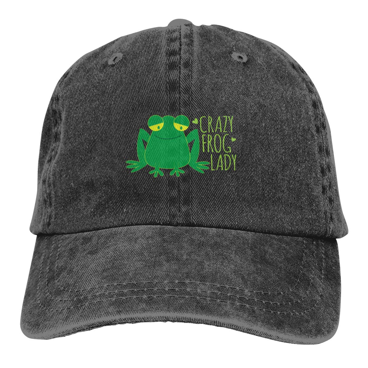 Sajfirlug Crazy Frog Lady Fashion Adjustable Cowboy Cap Denim Hat for Women and Men