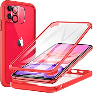 KKM Tempered Glass Case Designed for iPhone 11 6.1-inch, with Camera Lens Protector, Shockproof Bumper, Anti-Scratch, 360 Full Body Coverage Protective Phone Cover - Red