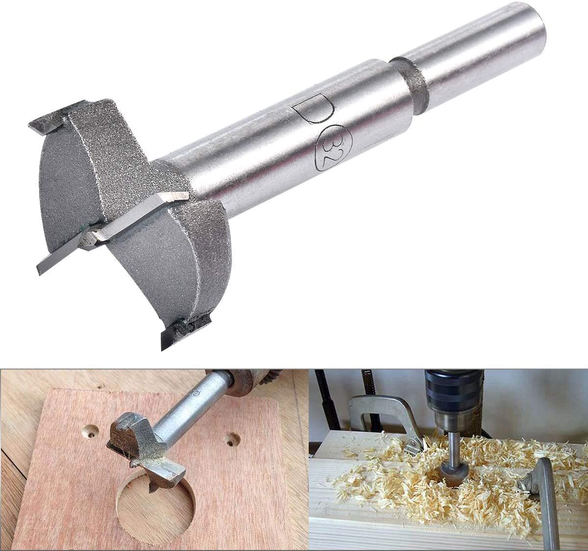 MDF 25mm Diameter Carbide Tip Round Shank Cutting for Hinge Plywood Woodworking Boring Hinge Hole Saw Wooden Hole Opener Boring Bits CNC Tool KATUR 25mm Forstner Auger Drill Bit