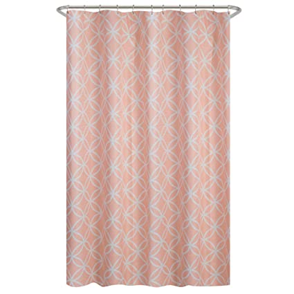 MAYTEX Emma Fabric Shower Curtain Coral 70 Inches X 72