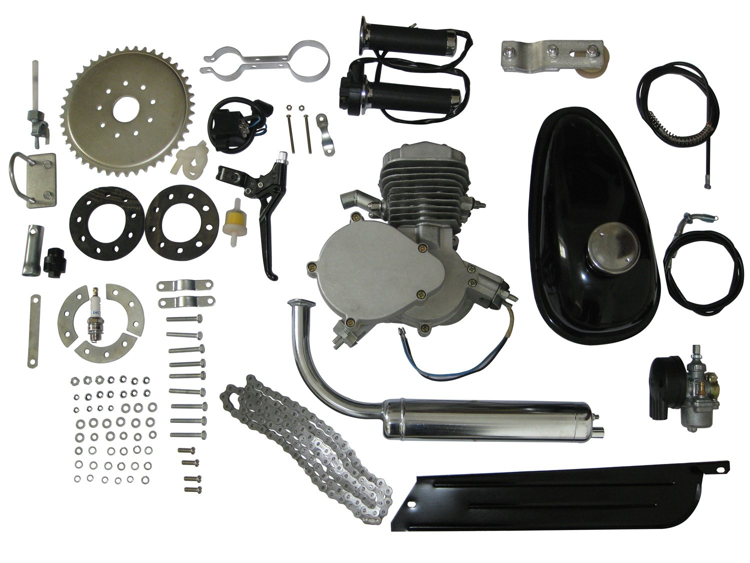 DEEP TOUCH DT80 80cc 2-Cycle Petrol Gas Engine Motor Kit with Angle Fire Slant Head for Motorized Bicycle Bike