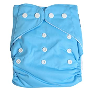 Adjustable Reusable Washable One Size Baby Cloth Diaper Diapers Nappy 1 Diaper + 2 Inserts Blue