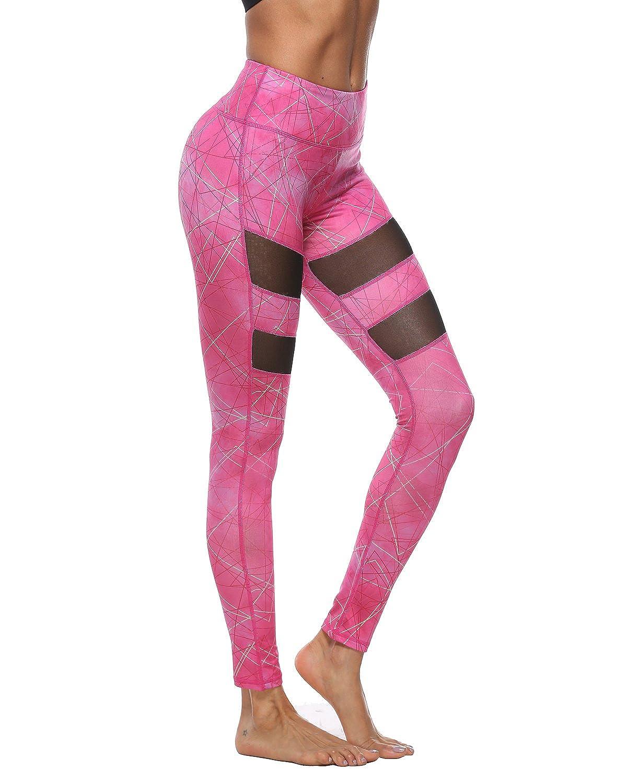 SOUTEAM Women's Yoga Mesh Sports Leggings With Inner Pocket Size S~XL