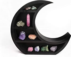 Wooden Black Crescent Moon Shelf - Gothic Witchy Room Decor. Moon Phase Wall Hanging or Table Top Storage for The Home. from Crystals to Essential Oils Perfect Shelving for a Half Moon Art Display
