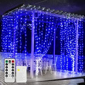 DOBSTFY 304 LED Window Curtain Lights - 10Ft Connectable String Lights for Halloween Decorations Christmas Lights for Party Wedding Decor 8 Lighting Modes Fairy Lights for Indoor Outdoor (Warm Blue)