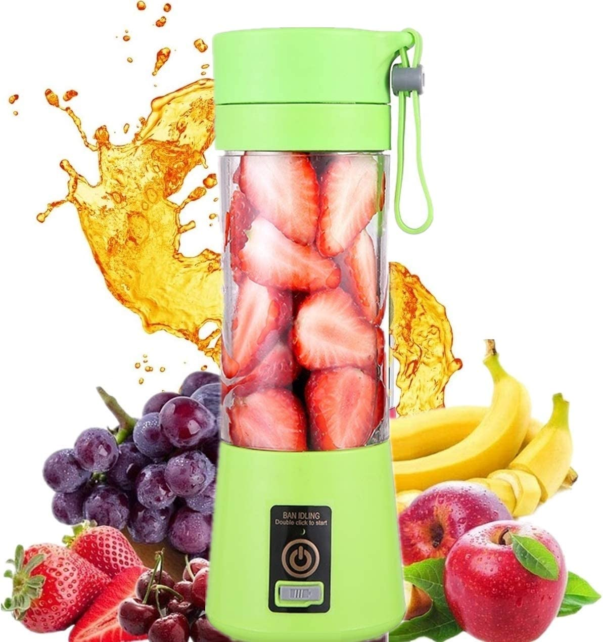 HANBO Electric Portable Juicer Blender Cup, Household Fruit Mixer with Six Blades in 3D, 380ml USB Rechargeable Juice Blender Magnetic Secure Switch Electric Fruit Mixer (Green)