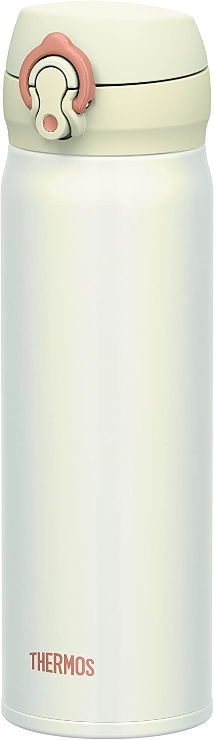 Thermos Stainless Steel Commuter Bottle, Vacuum insulation technology locks,0.5-L,Pearl White,[one-touch open type] ,JNL-502 PRW