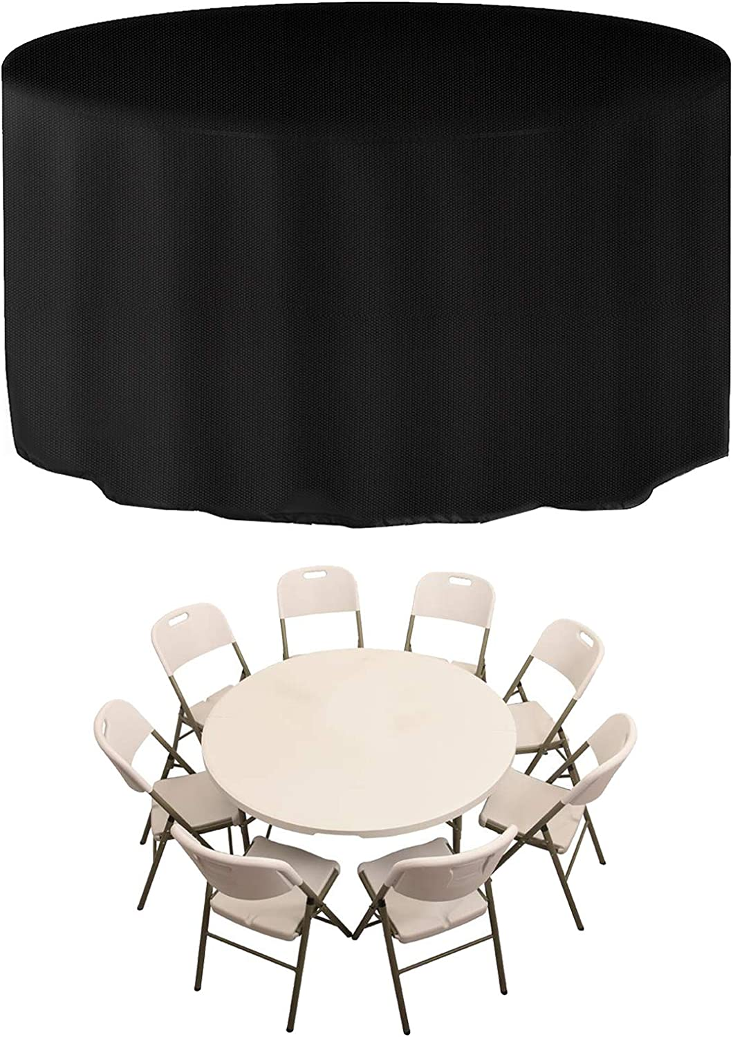 JESTOP Patio Furniture Cover 600D, Outdoor Round Table Chair Set Covers Waterproof Heavy Duty with 2 Fixing Buckles and Wind Draw String, 73