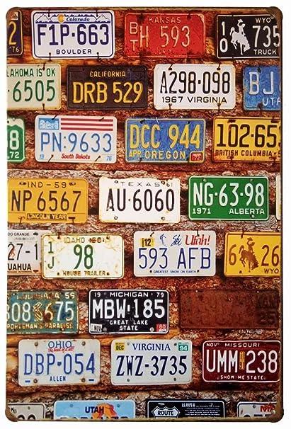 Amazon.com: ERLOOD License Plate Vintage Home Decor Wall Tin Sign 12 ...