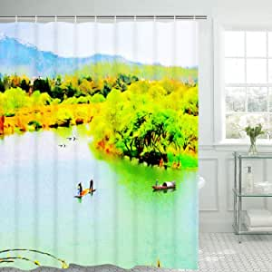 Cloth Shower Curtain White Shower Curtain with Hooks, Waterproof with Standard