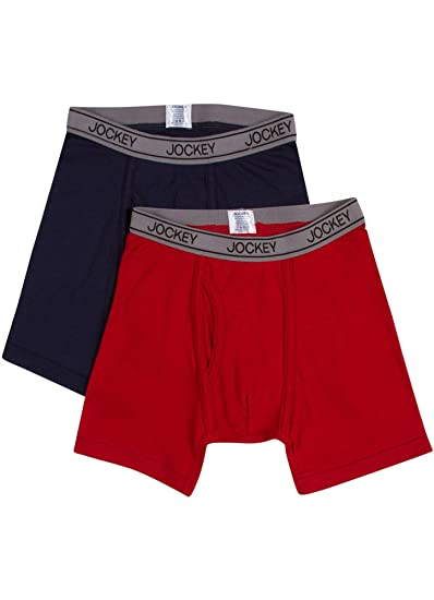 a8c7fcd1a5a0 Jockey Boy's Underwear Boys Performance Boxer Brief - 2 Pack, Navy/Red, ...