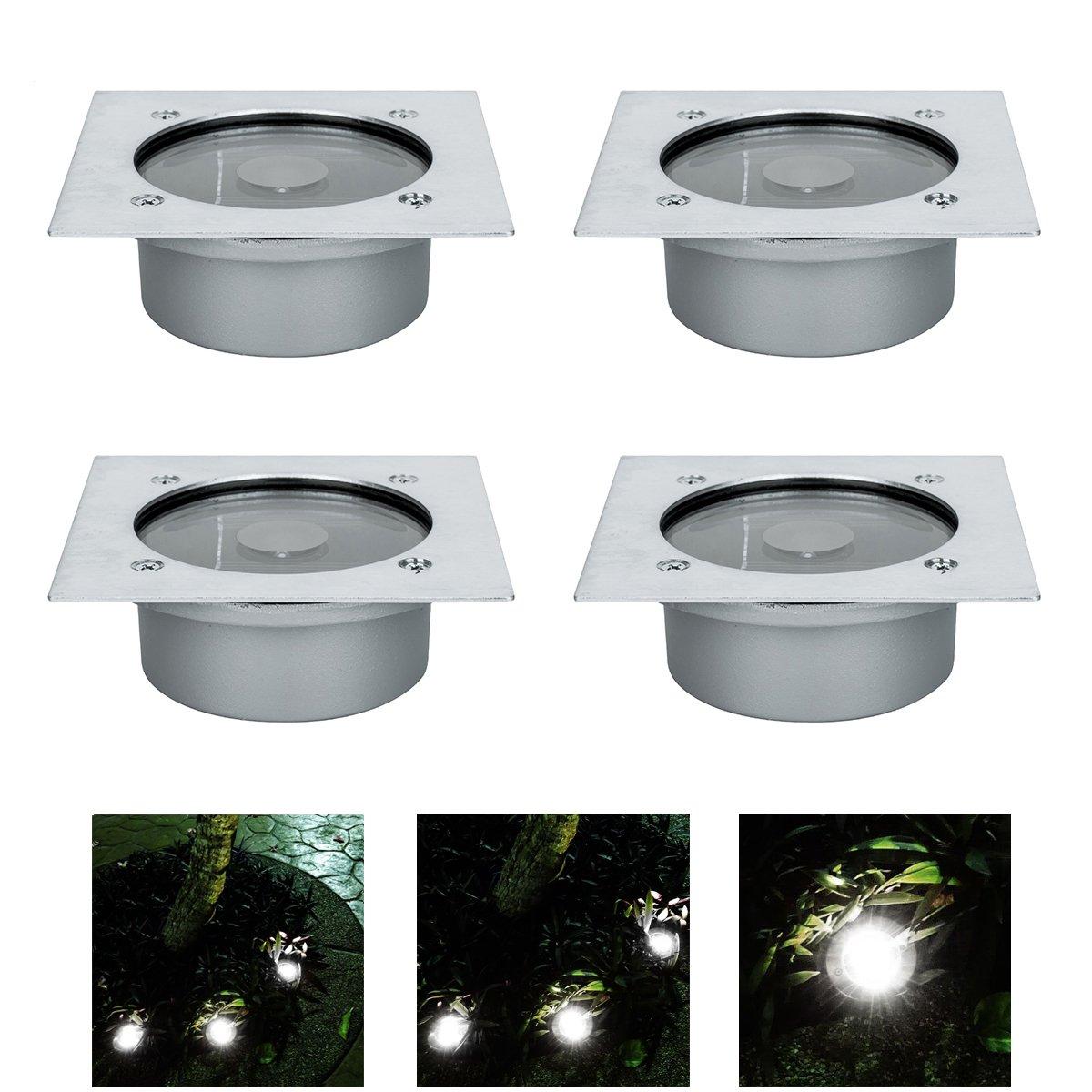4x LED Solar Bodeneinbaustrahler Außen Led Bodenspot für IP65 ...