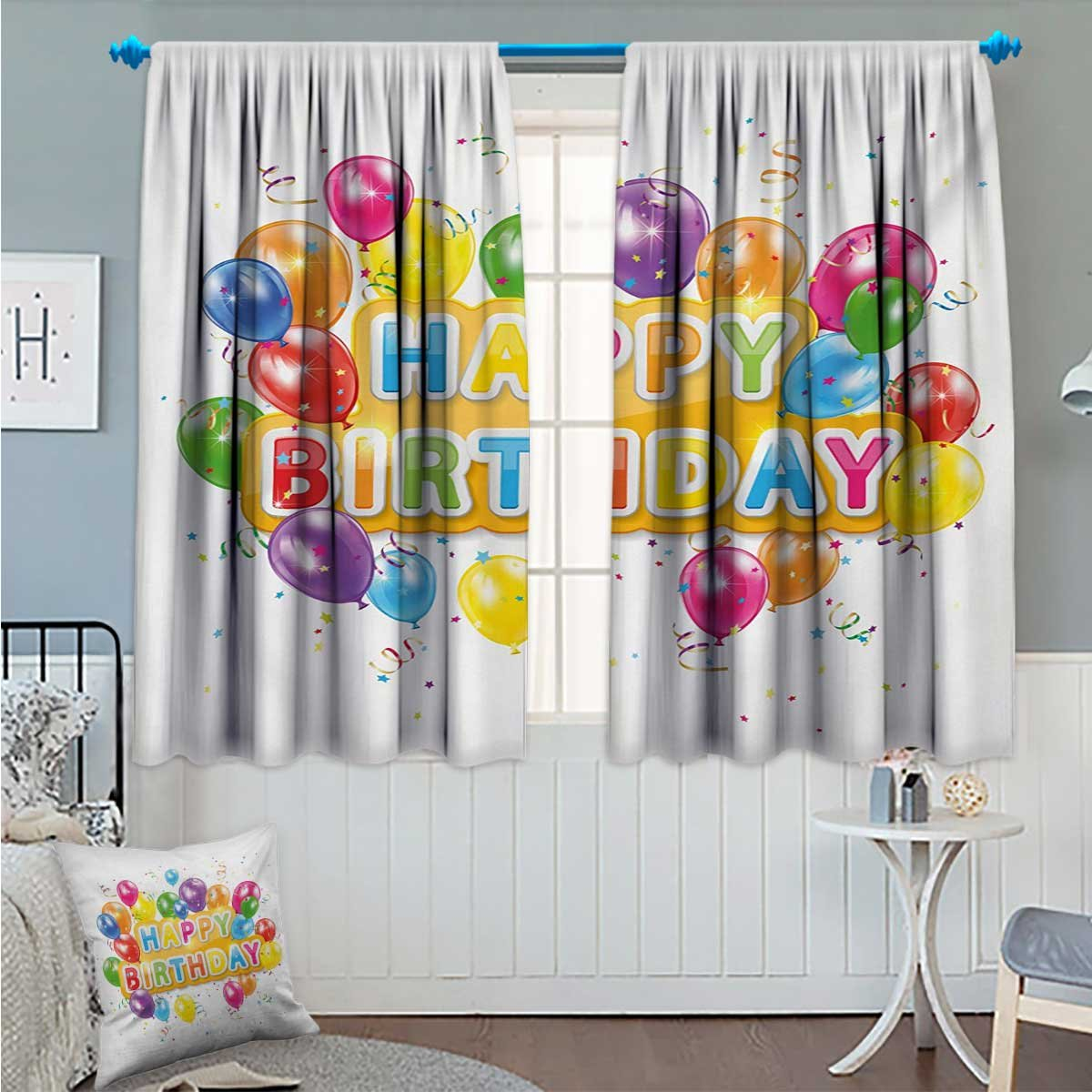Angoueleven Birthday Thermal/Room Darkening Window Curtains The Words Happy Birthday with Vivid Balloons Confetti Rain Blithesome Happy Day Decor Curtains by Multicolor Size:72''x63''