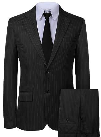 4b826778750 Hanayome Men s 3 Pieces Business Suits Slim Fit Stripe Blazer Jacket Vest  Pants Set SI137 (