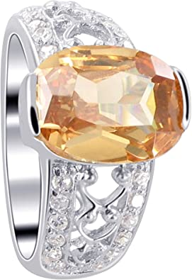 Sterling Silver Solitaire Simple Circle Pendant Champagne Simulated CZ Charm