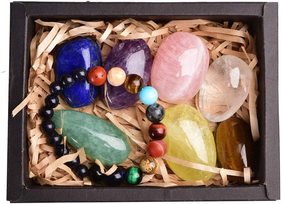 ADELALILI Piedra Natural Healing Crystal 8pcs Piedra Original Pulsera Siete Chakra Mineral Caja de Regalo