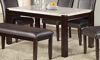 Fine Amazon Com Festus Marble Top Dining Table In Dark Cherry Home Interior And Landscaping Ologienasavecom