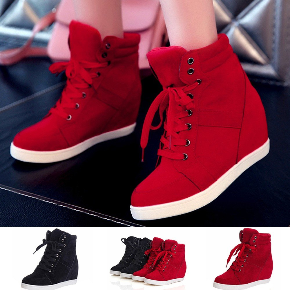Lurryly❤Womens Leather Lace-up Hidden Wedge Boots Ankle Boot Casual Shoes