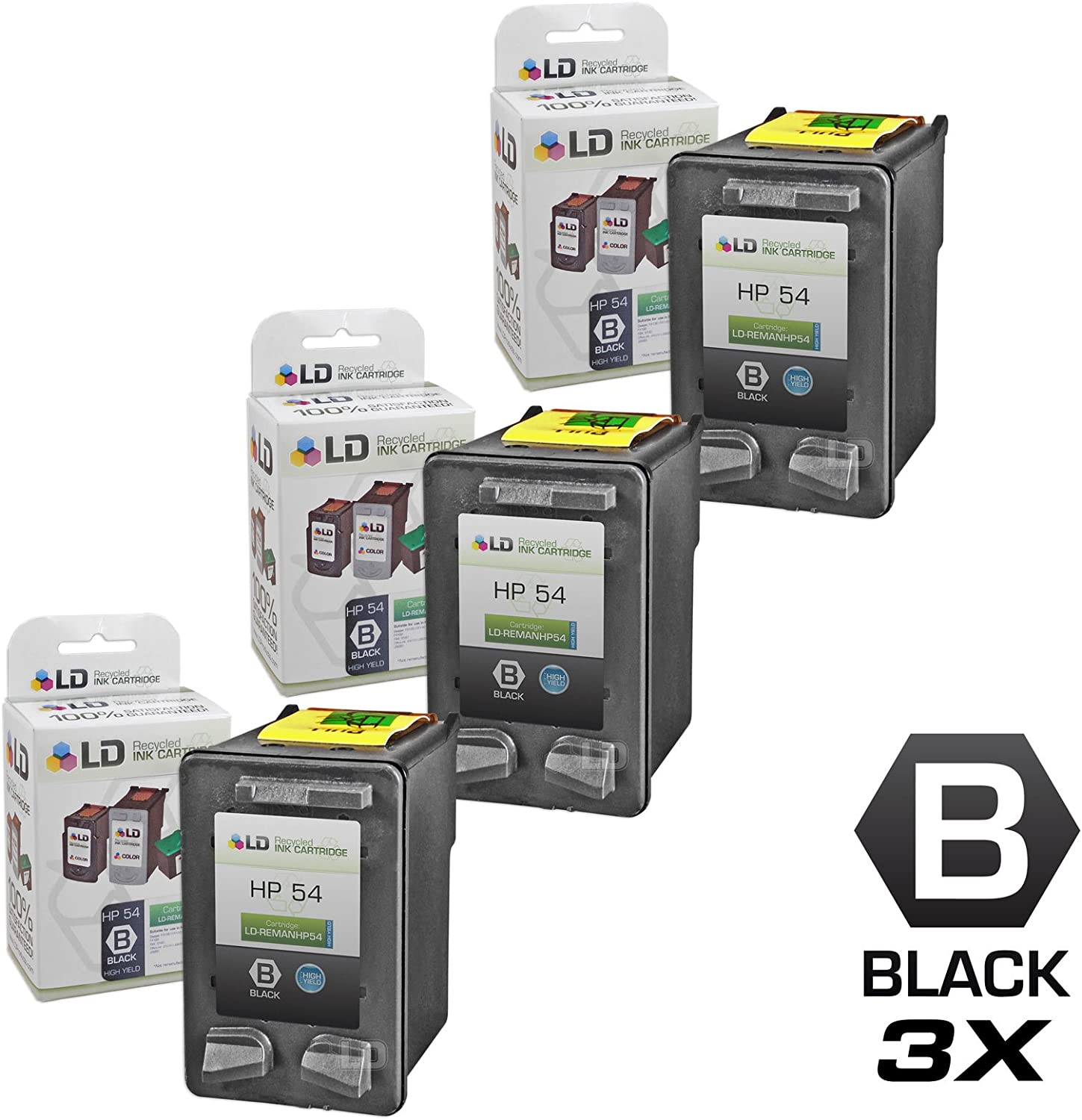 LD Remanufactured Ink Cartridge Replacement for HP 54 CB334AN High Yield (Black, 3-Pack)