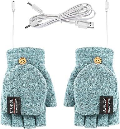 Yinuoday con calefacci/ón por USB unisex guantes de invierno y guantes de punto sin dedos Guantes de hombre o mujer