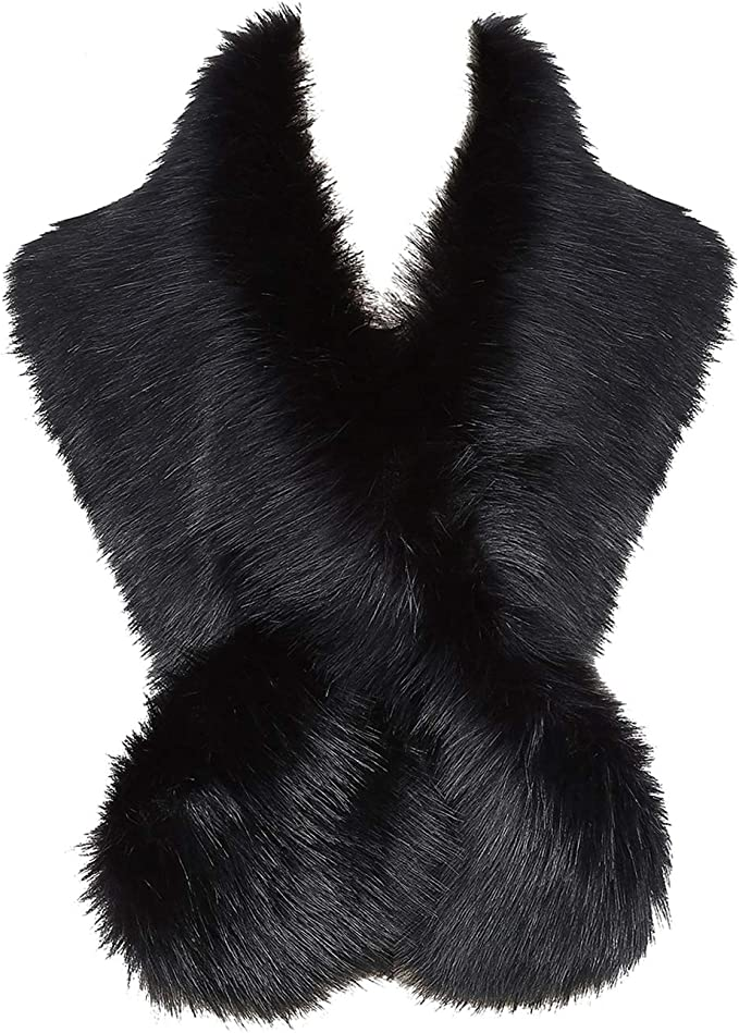 Vintage Christmas Gift Ideas Faux Fur Scarf CNNIK Faux Fox Fur Collar Wrap Shawl Neck Warmer for 1920s Women Flapper vintage Great Gatsby theme partyWinter Coat 47.2 £10.99 AT vintagedancer.com