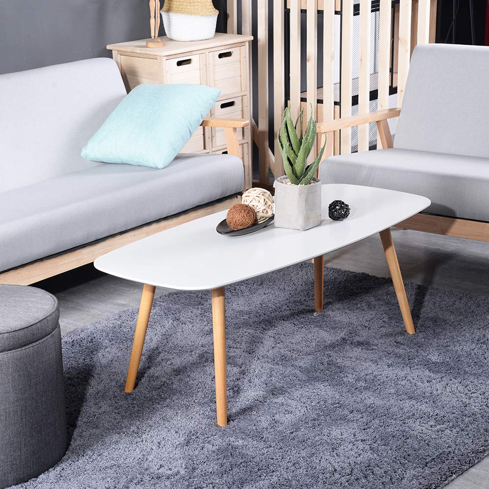 GreenForest Modern Coffee Table for Living Room Small Spaces,Tea Table Mid Century Style Wood Legs, 43.3