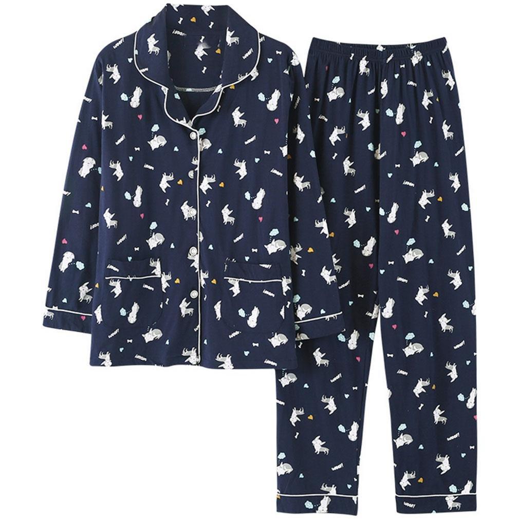 MOXIN Womens Cotton Long Sleeve Sleepwear Nightwear Pajama Set , l , dark blue