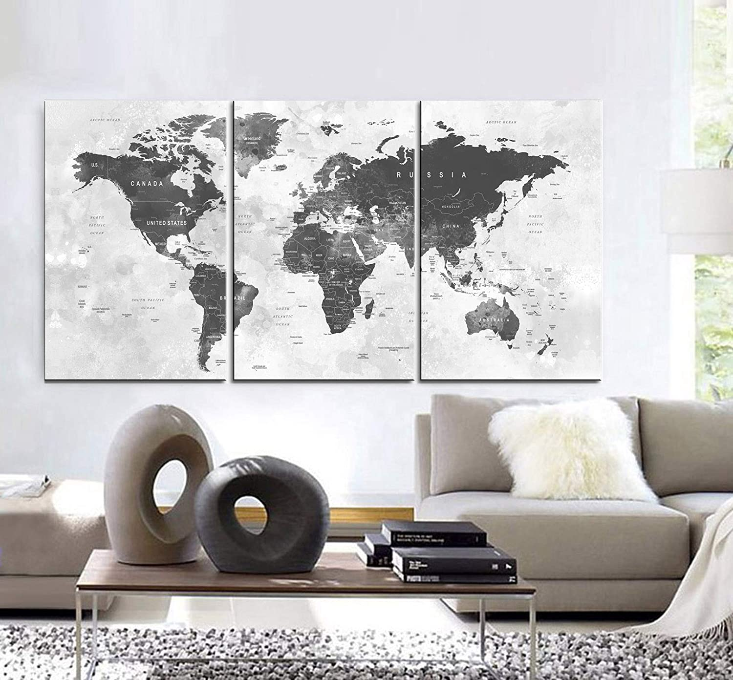 Amazon Com Original By Boxcolors Large 30 X 60 3 Panels 30x20 Ea Art Canvas Print World Map Watercolor Push Pin Gray Wall Decor Home Interior Included Framed 1 5 Depth Handmade
