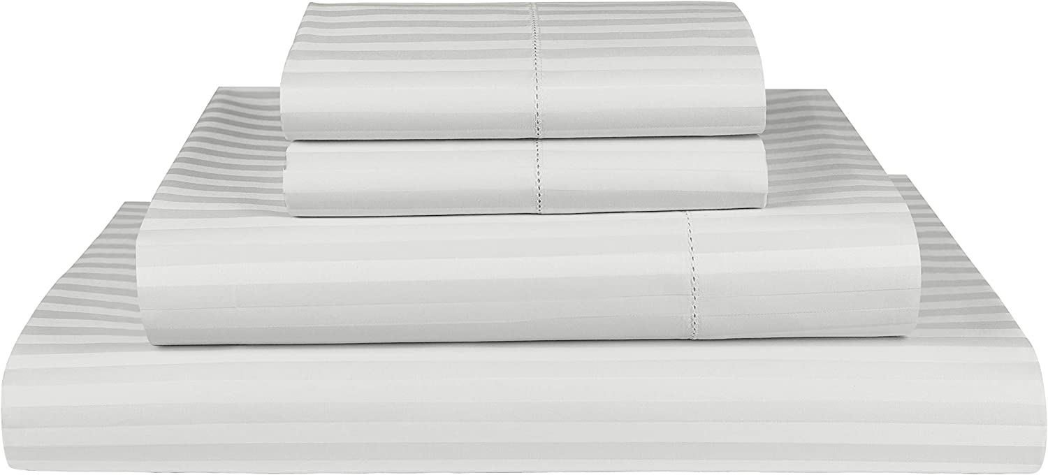 Threadmill Home Linen 600 Thread Count King Size Sheets Set - 1CM Damask Stripe 100% ELS Cotton Sheets for King Size Bed Luxury Hemstitch 4 Piece Set with Elasticized Deep Pocket Smooth Sateen, Silver