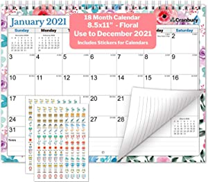 CRANBURY Small Wall Calendar 2020-2021 (Floral), Monthly Calendar for Binder, Desk, or Wall, 8.5x11 Inches, Use July 2020 to December 2021, School Year Academic Calendar, Bonus Stickers Included