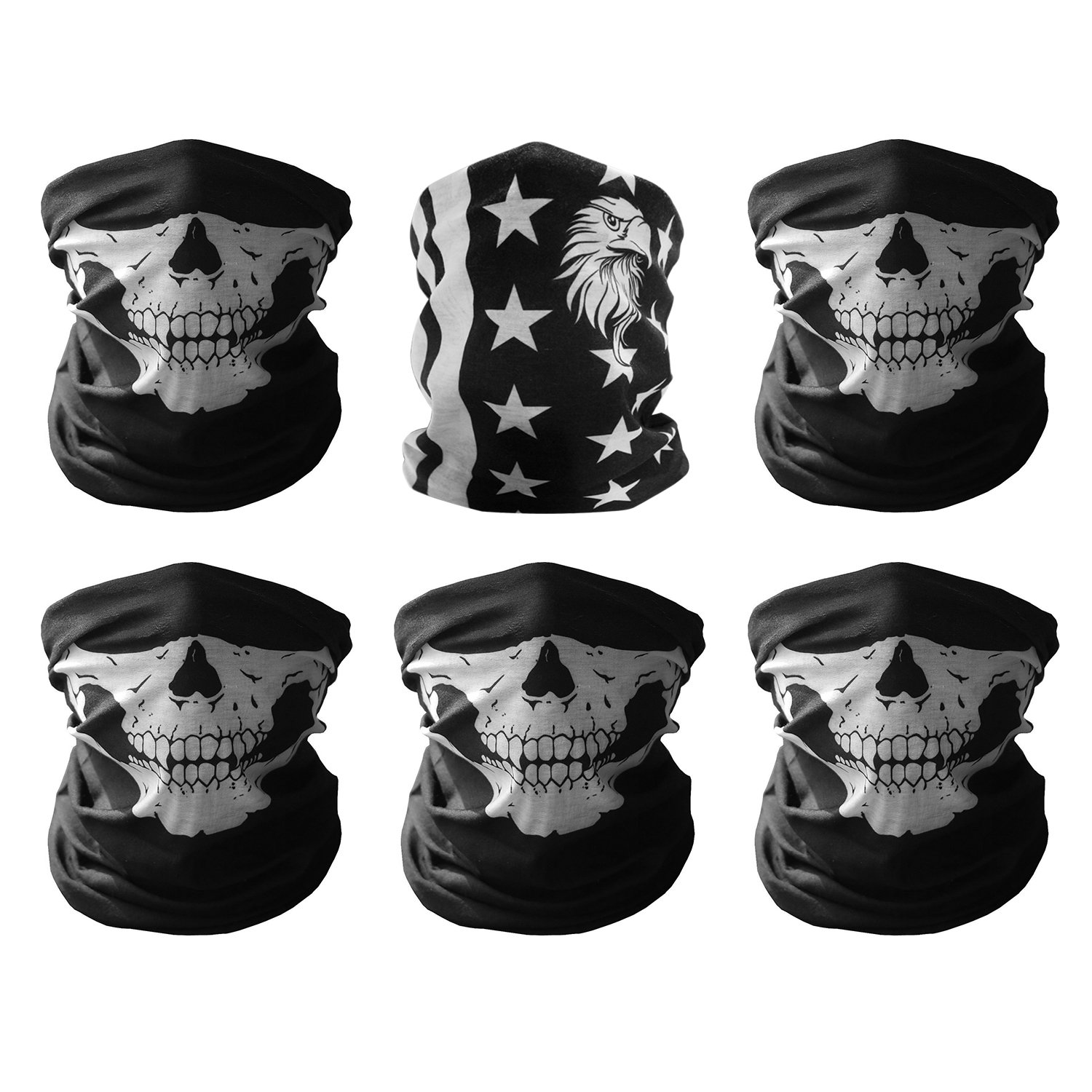GAMPRO Universal Breathable Seamless Tube Skull Face Mask, Dust-proof Motorcycle Bicycle Bike Face Mask for Cycling, Hiking, Camping, Climbing, Fishing, Hunting, Jogging, Motorcycling (5Black&1Flag)