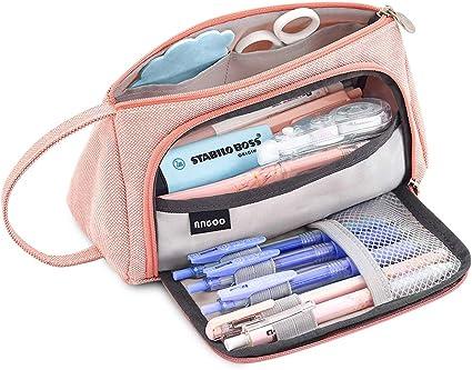 Estuche para lápices de gran capacidad para la escuela secundaria, la oficina, la universidad y las niñas adultas, color rosa: Amazon.es: Oficina y papelería