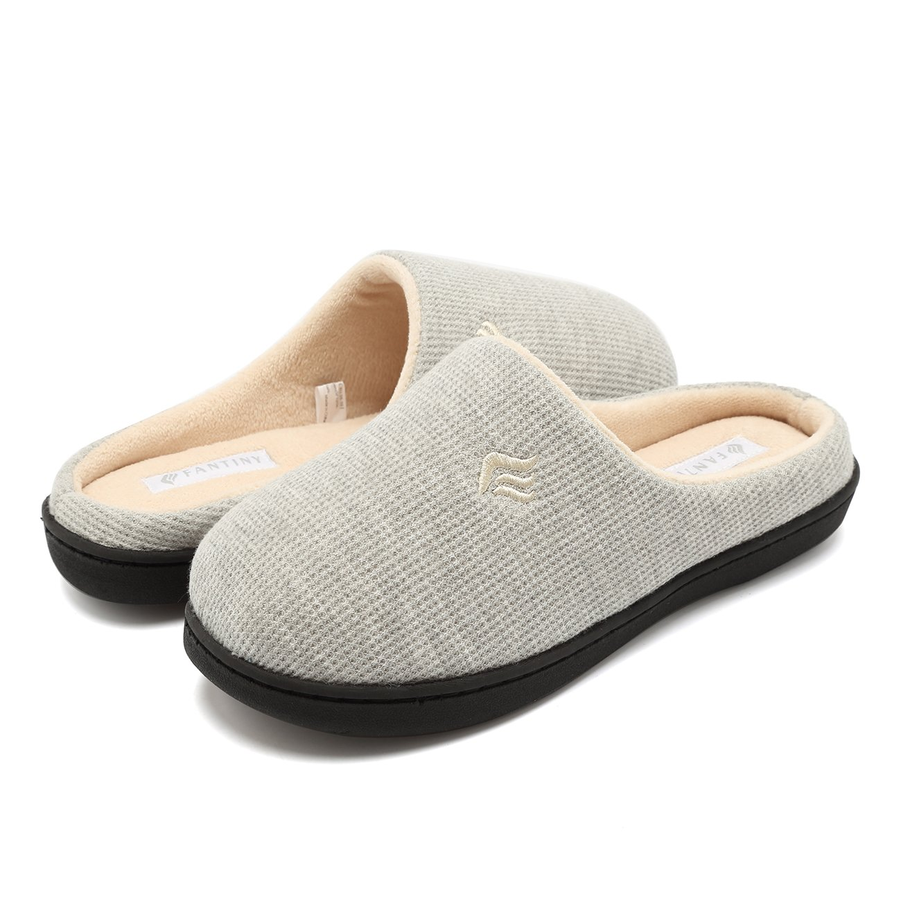 CIOR Fantiny Women's Memory Foam Slippers Two-Tone Slip-on Clog Scuff House Shoes Indoor & Outdoor-U118WMT019-lightgray-40.41