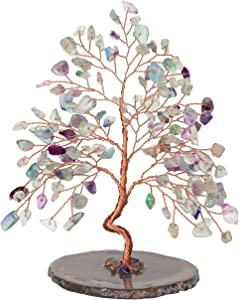 CrystalTears Natural Fluorite Crystal Money Tree Feng Shui Crystal Tree Sculpture Figurine Healing Gemstone Tree of Life Ornament with Agate Slice Geode Stand for Good Luck Home Decoration 5.5